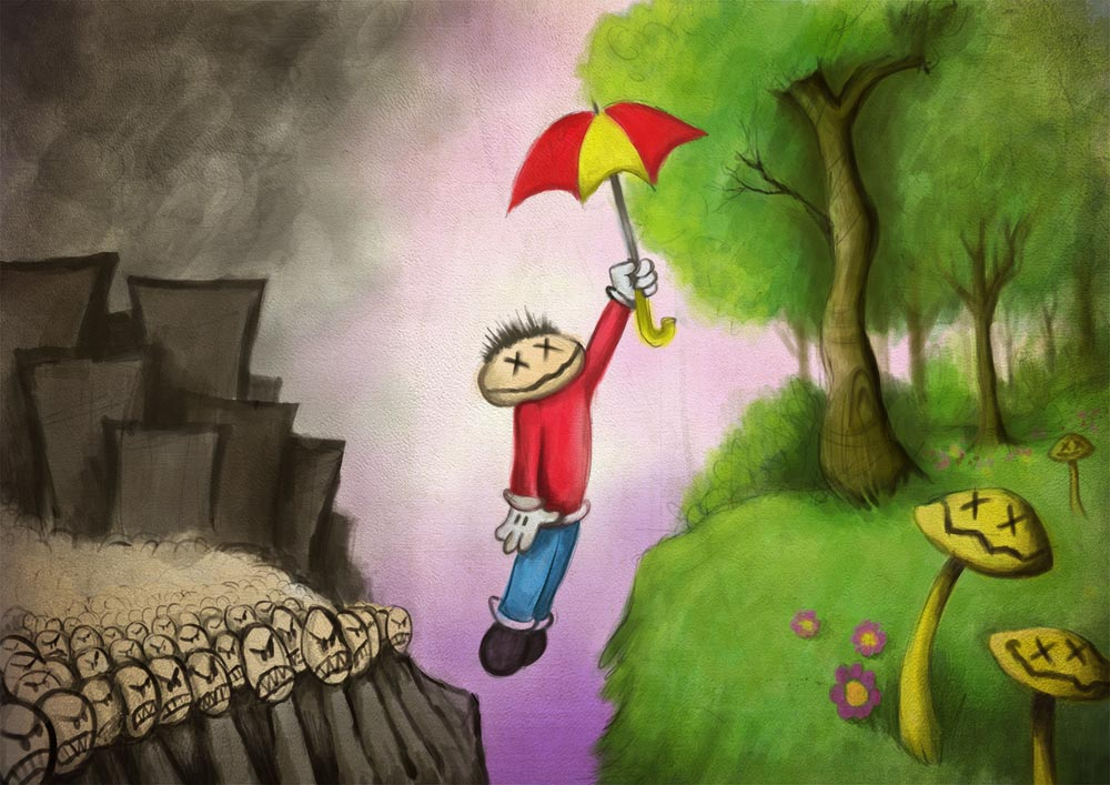 umbrella-flying